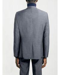 TOPMAN - Blue Navy Textured Slim Suit Jacket for Men - Lyst