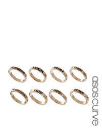 ASOS - Metallic Word Ring Pack - Lyst