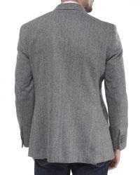 Jules B - Gray Herringbone Hacking Jacket for Men - Lyst