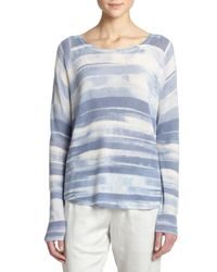 Vince - Blue Wool & Cashmere Striped Sweater - Lyst