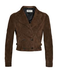 Saint Laurent | Brown Cropped Suede Jacket | Lyst