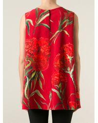 Dolce & Gabbana - Red Carnation Print Tank Top - Lyst