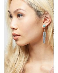 Forever 21 - Blue Peyote Bird Turquoise Feather Earrings - Lyst