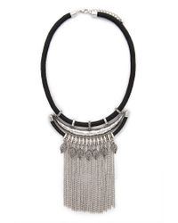 Forever 21 - Black Fringe Statement Necklace - Lyst