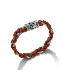John Hardy | Brown Braided Bracelet With Red Leather Cord for Men | Lyst