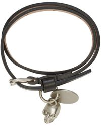 Alexander McQueen - Black Leather Wraparound Honour Bracelet for Men - Lyst