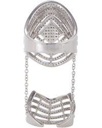 Fallon - Metallic Sterling Silver Pave Labyrinth Double Ring - Lyst
