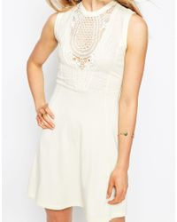 ASOS | Natural Empire Washed Skater Dress With Lace Bib | Lyst