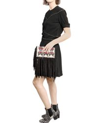 Isabel Marant | Multicolor Shiloh Embroidered Fringed Suede Clutch | Lyst