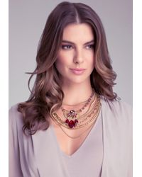 Bebe - Metallic Romantic Layered Necklace - Lyst