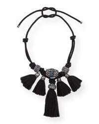Lanvin | Black Knotted Crystal Tassel Necklace | Lyst