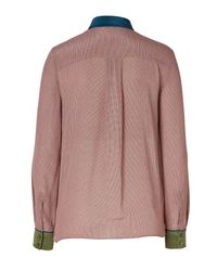 Fendi - Red Silk Colorblock Blouse In Fard/moro - Rose - Lyst
