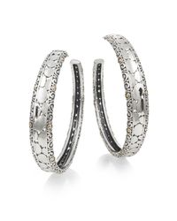 "Effy - Metallic 18k Yellow Gold & Sterling Silver Hoop Earrings/1.75"" - Lyst"