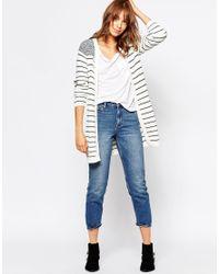 Vero Moda - Blue Contrast Stripe Cardigan - Lyst
