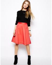 ASOS - Orange Midi Skirt In Scuba With Zips - Lyst