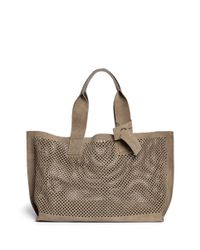 Pedro Garcia | Brown Perfed' Perforated Suede Tote | Lyst