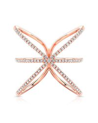 Anne Sisteron | Pink 14kt Rose Gold Diamond Starburst Ring | Lyst