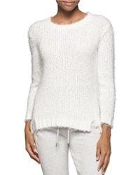 Calvin Klein Jeans | White Fuzzy Knit Sweater | Lyst