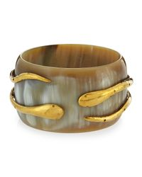 Ashley Pittman - Brown Light Horn Double-snake Bangle Bracelet - Lyst