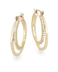 "BCBGeneration - Metallic 7/25 Minimized Pavé Double Hoop Earrings/1"" - Lyst"