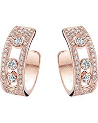 Messika | Pink Move Joaillerie 18Ct Rose-Gold And Diamond Hoop Earrings | Lyst