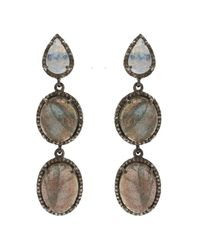 Adornia - Gray Labradorite And Champagne Diamond Adina Earrings - Lyst