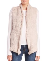 June | Natural Shawl Knit Rabbit Fur Vest | Lyst