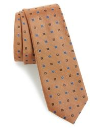 Calibrate | Brown 'victoria Island' Silk & Cotton Tie for Men | Lyst