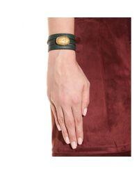 Valentino - Green Scarab Leather Wrap Bracelet - Lyst