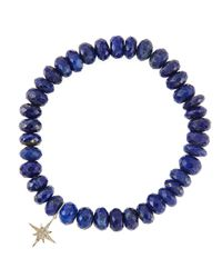 Sydney Evan - Metallic 8Mm Faceted Lapis Beaded Bracelet With 14K Yellow Gold/Diamond Small Evil Eye Charm (Made To Order) - Lyst