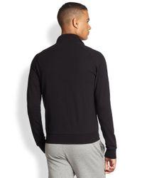 EA7 - Black Stretch Cotton Track Jacket for Men - Lyst