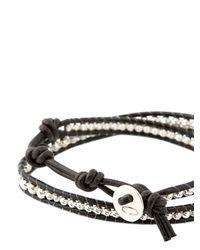 Colana - Black Leather Wrap Bracelet W/ Pure Silver - Lyst