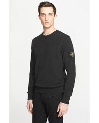 4698c453e30e2 Stone Island Crewneck Sweatshirt in Black for Men - Lyst