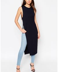 ASOS - Blue Maxi Tunic Top With Side Splits - Lyst
