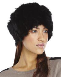 Adrienne Landau - Black Textured Rabbit-fur Hat - Lyst
