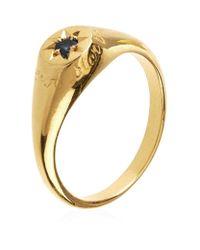 Alex Monroe | Metallic Guiding Star Blue Sapphire Signet Ring | Lyst