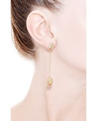 Yossi Harari - Metallic Small Round Lace Earrings with Double Ball and Champagne Diamonds - Lyst