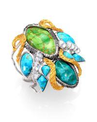 Alexis Bittar - Metallic Elements Cholulian Turquoise & Chrysocolla Olmeca Statement Cuff Bracelet - Lyst