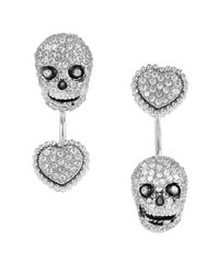 Betsey Johnson | Metallic All That Glitters Cubic Zirconia Skull And Heart Front And Back Earrings | Lyst