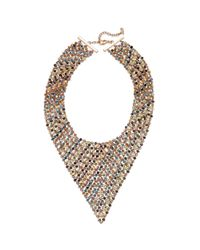 ABS By Allen Schwartz | Metallic Rose Goldtone Multicolor Beaded Bib Necklace | Lyst