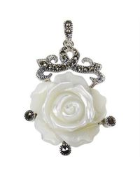 Aeravida - Metallic Vintage Style Carved Rose Mop Marcasite .925 Silver Pendant - Lyst