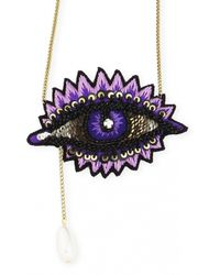 Forest Of Chintz | Multicolor Embroidered Purple Eye Necklace | Lyst