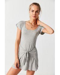 Silence + Noise - Gray Tie-waist T-shirt Dress - Lyst