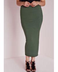 Missguided | Natural Plus Size Jersey Midi Skirt Khaki | Lyst