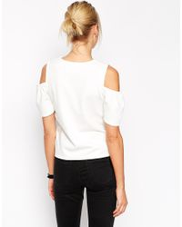 ASOS - Natural Top With Cold Shoulder - Lyst