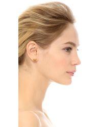 Tory Burch - Metallic Adeline Fret Stud Earrings - Shiny Gold - Lyst