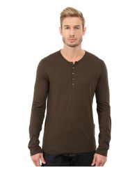 John Varvatos | Brown Long Sleeve Knit Henley With Shoulder Seam Details K2217r3l for Men | Lyst