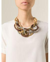 Giorgio Armani - Metallic Mesh Circle Necklace - Lyst