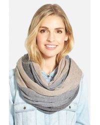 Halogen | Gray Tricolor Cashmere Infinity Scarf | Lyst
