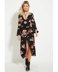 4c70e8d4fa62 Forever 21 Floral Print Wrap Midi Dress in Red - Lyst